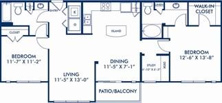 1,212 sq. ft. Pettigrew floor plan