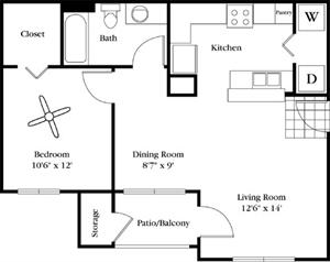 680 sq. ft. Pietra floor plan