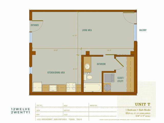 654 sq. ft. T floor plan