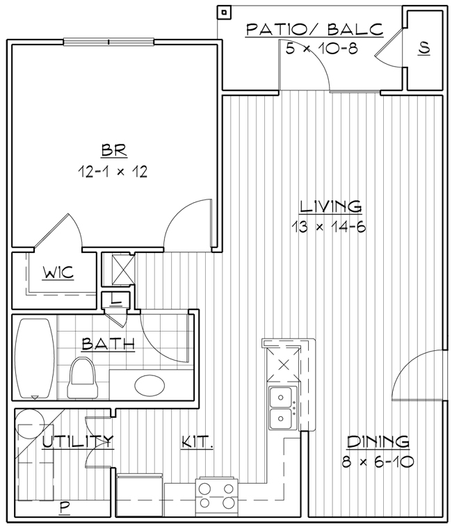 701 sq. ft. 50% floor plan
