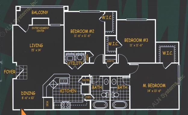 1,258 sq. ft. C1 floor plan