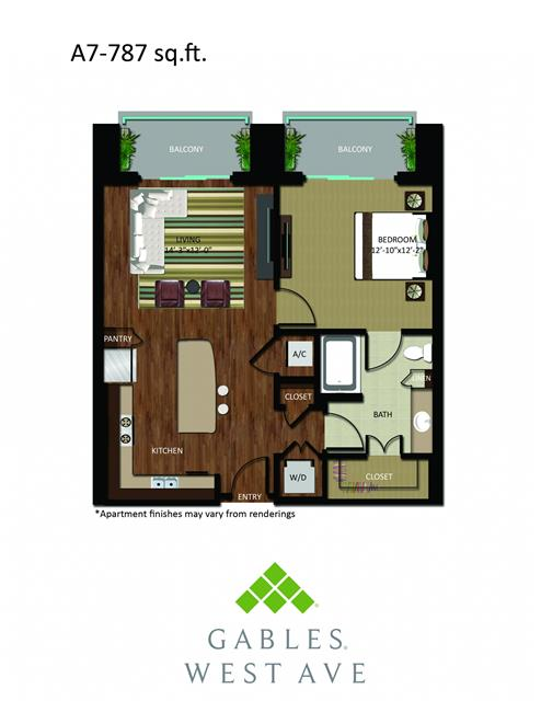 787 sq. ft. DA7 floor plan