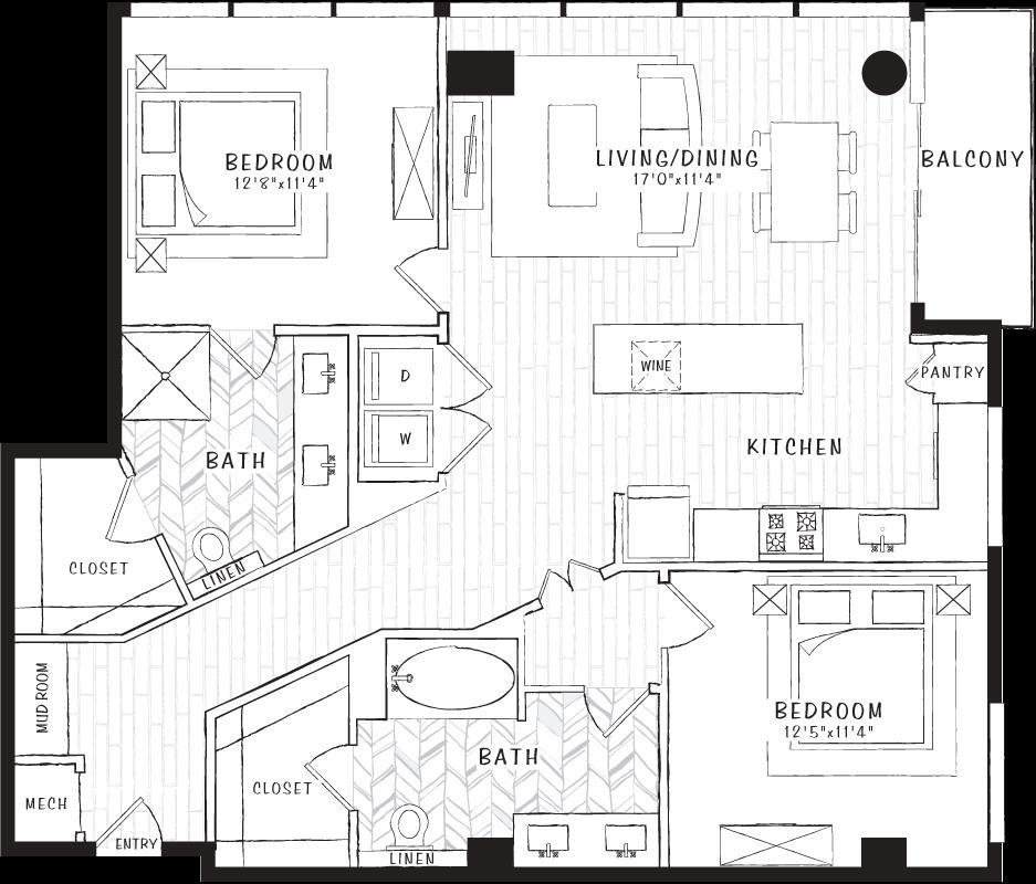 1,198 sq. ft. B2 floor plan
