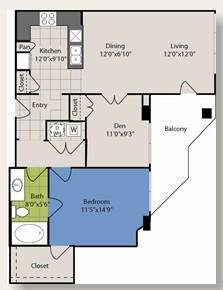 901 sq. ft. B3 floor plan