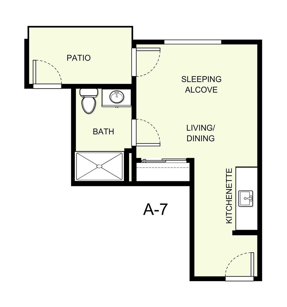 335 sq. ft. A7 floor plan