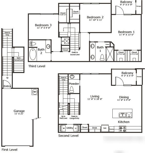 1,544 sq. ft. C2G floor plan
