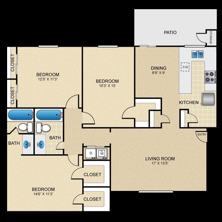1,307 sq. ft. floor plan