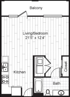 567 sq. ft. O1S1 floor plan