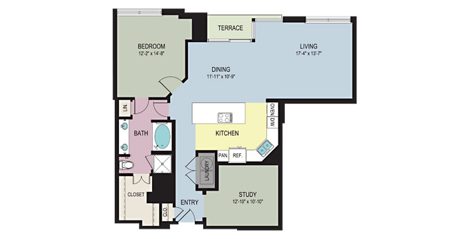 1,311 sq. ft. A6 floor plan