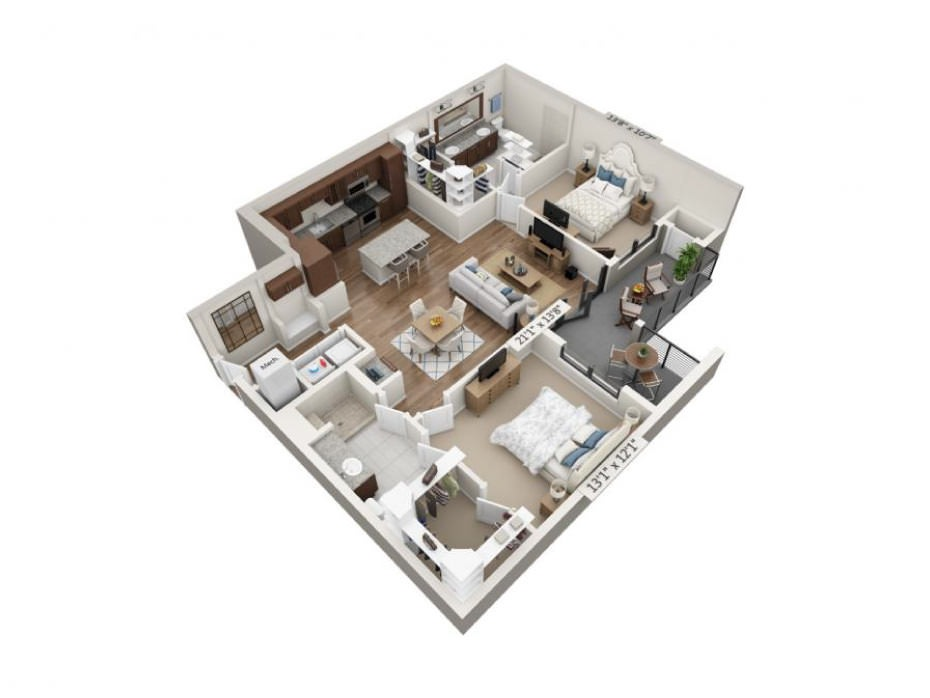 1,240 sq. ft. Stretto floor plan