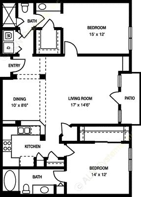 1,130 sq. ft. B4 floor plan