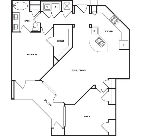 1,106 sq. ft. A7 floor plan