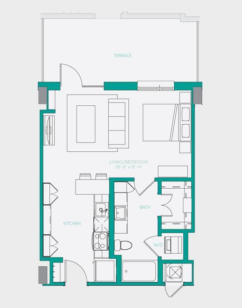 567 sq. ft. S1.4 floor plan