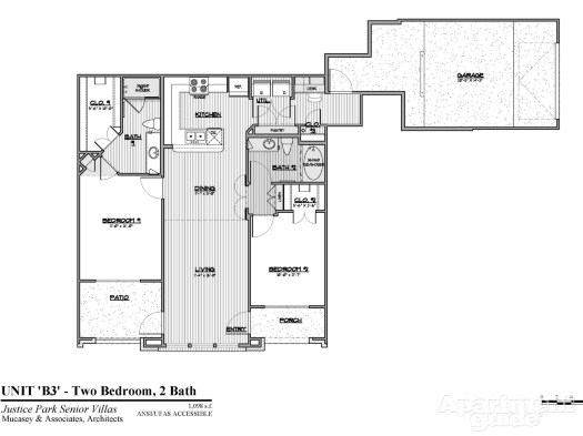 1,098 sq. ft. B3 60% floor plan
