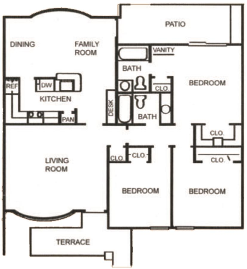 1,187 sq. ft. C-1 floor plan