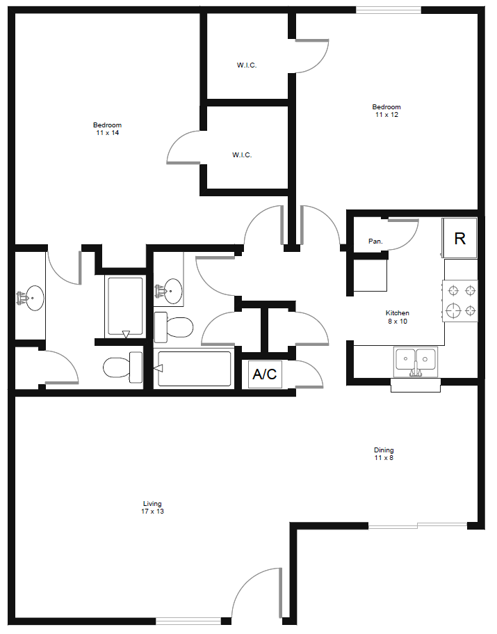998 sq. ft. B3 floor plan