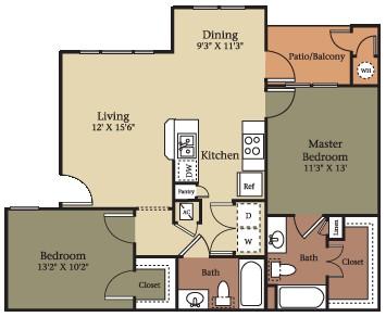 957 sq. ft. B1/60% floor plan