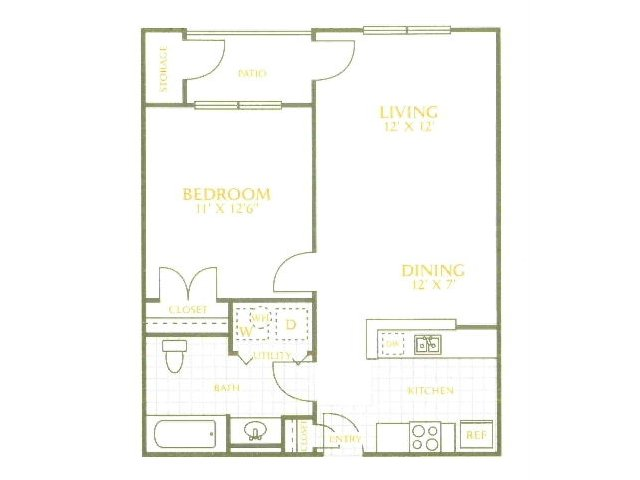 628 sq. ft. MKT floor plan