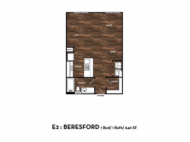 640 sq. ft. E2: Beresford floor plan
