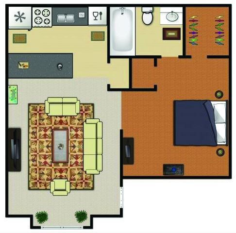 467 sq. ft. A1 floor plan
