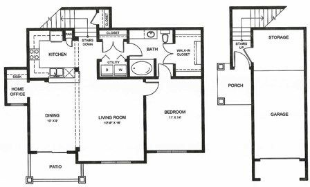 984 sq. ft. A2u floor plan
