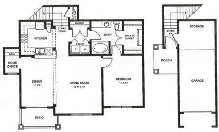 895 sq. ft. A2 floor plan