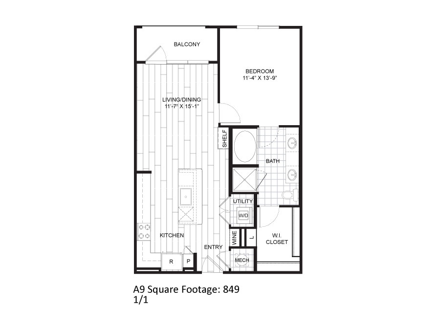 849 sq. ft. A9 floor plan
