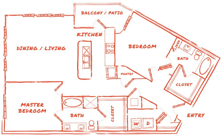 1,560 sq. ft. B4 floor plan