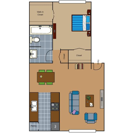 641 sq. ft. AD1 floor plan
