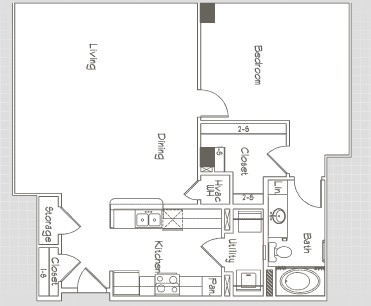 980 sq. ft. A5 floor plan