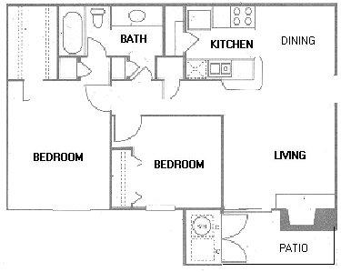 816 sq. ft. B1 floor plan