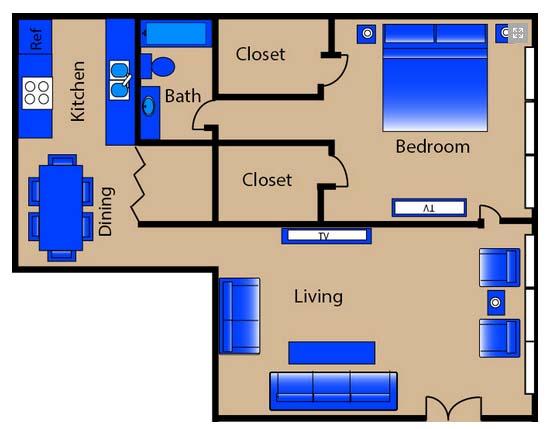 1,050 sq. ft. C1 floor plan