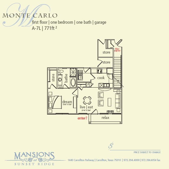 771 sq. ft. Monte Carlo floor plan