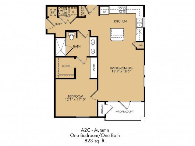 823 sq. ft. Harmony floor plan