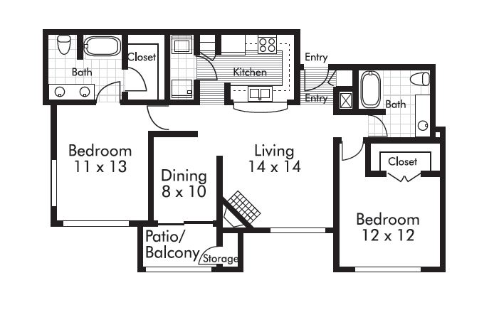 1,125 sq. ft. Hudson floor plan