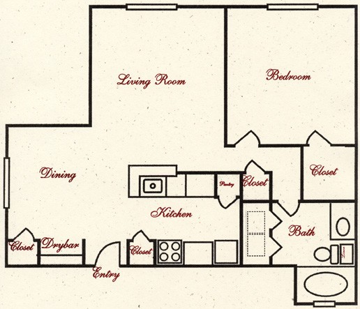 730 sq. ft. A7 floor plan