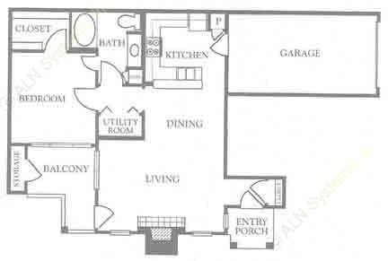 795 sq. ft. A2 floor plan