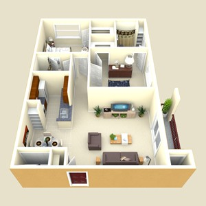 920 sq. ft. Trinity floor plan
