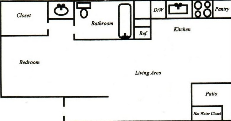 475 sq. ft. Efficiency floor plan