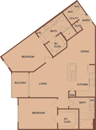 1,120 sq. ft. C1 Mkt floor plan