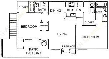 883 sq. ft. B1 floor plan