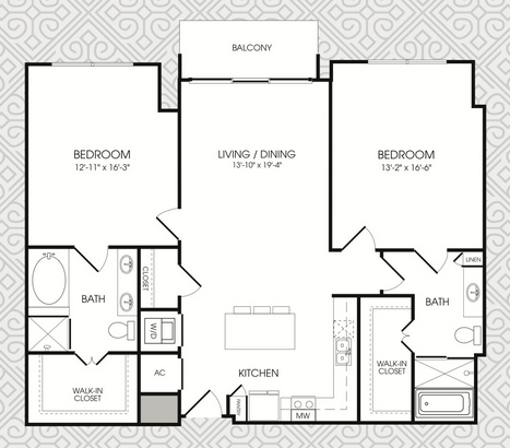 1,375 sq. ft. B10 floor plan