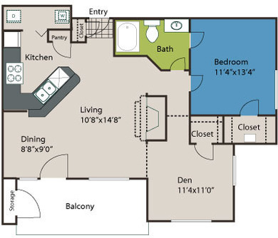 947 sq. ft. A6L floor plan