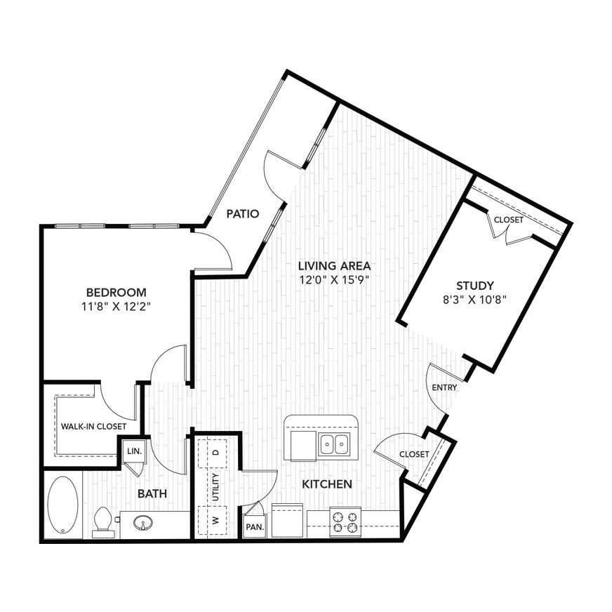 1,005 sq. ft. A7 floor plan