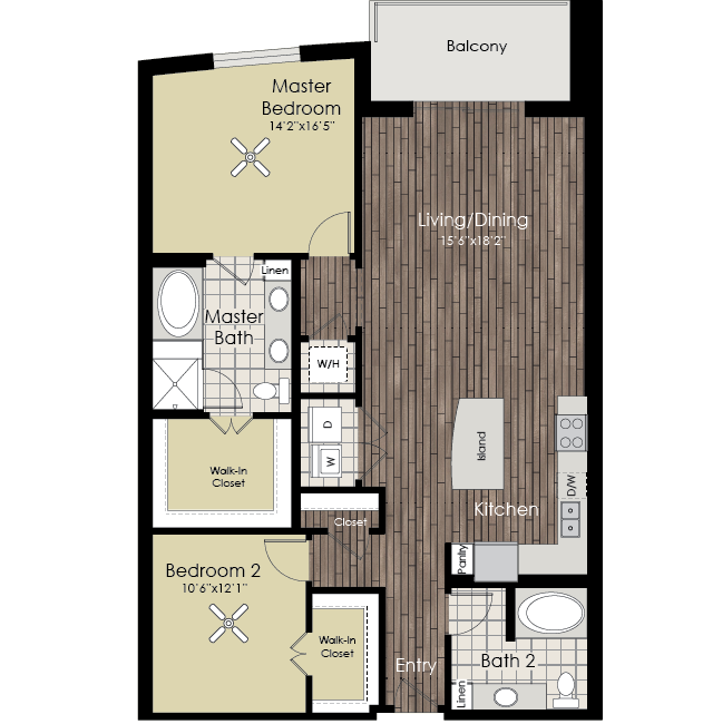1,365 sq. ft. B11 floor plan