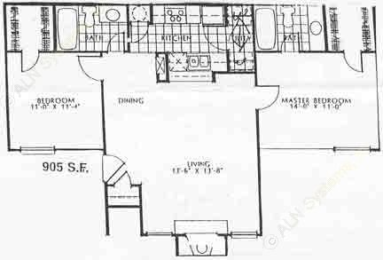 905 sq. ft. 60% B1 floor plan