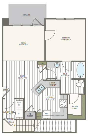 901 sq. ft. 1E floor plan