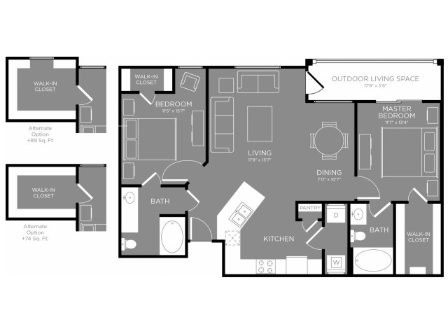 1,045 sq. ft. Lily floor plan
