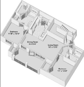 959 sq. ft. B1PH1 floor plan