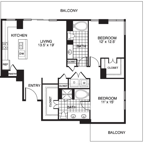 1,331 sq. ft. Harmony/Tower floor plan